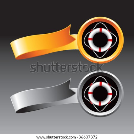 life ring on ribbons - stock vector