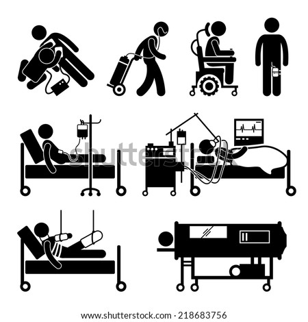 Life Support Equipments Stick Figure Pictogram Icons - stock vector