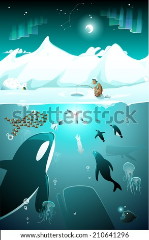 Life under water, under icy sea on the North pole, EPS 10 - stock vector