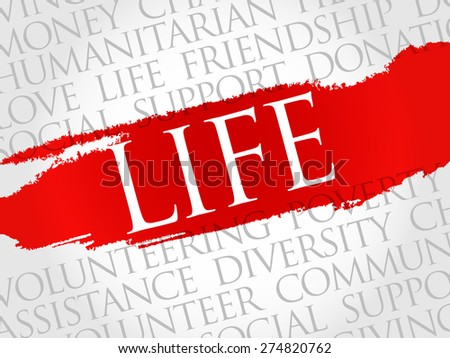 Life word cloud concept - stock vector