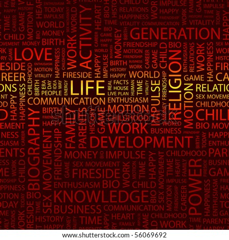 LIFE. Word collage. Illustration with different association terms. - stock vector