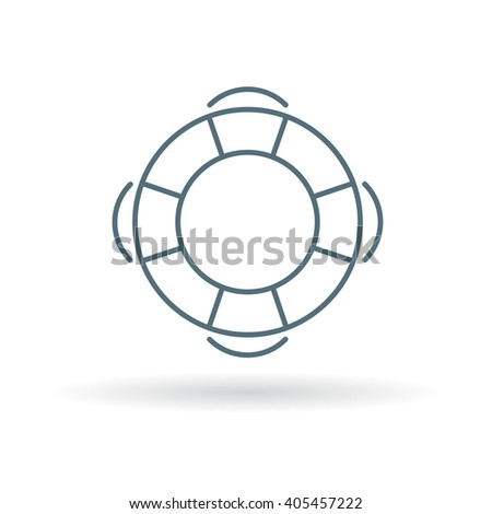 Lifebuoy icon. Life saver sign. Life preserver symbol. Thin line icon on white background. Vector illustration. - stock vector
