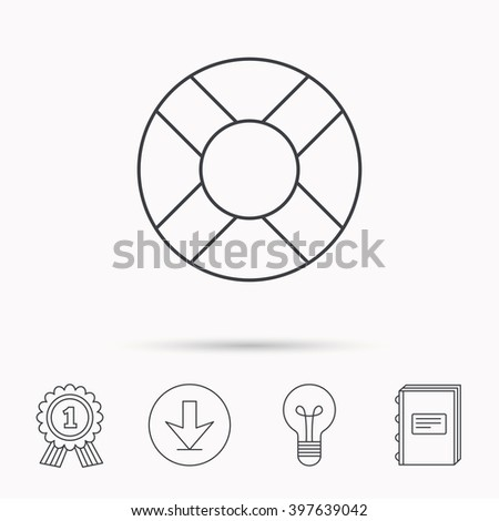 Lifebuoy icon. Lifebelt sos sign. Lifesaver help equipment symbol. Download arrow, lamp, learn book and award medal icons. - stock vector