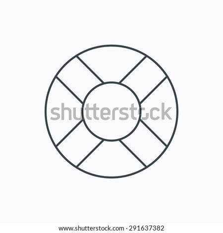Lifebuoy icon. Lifebelt sos sign. Lifesaver help equipment symbol. Linear outline icon on white background. Vector - stock vector