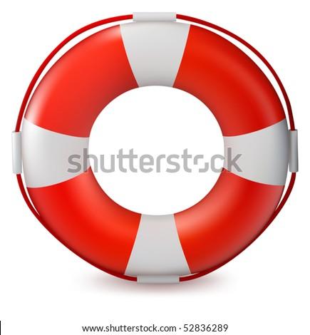 Lifebuoy isolated on white background - stock vector
