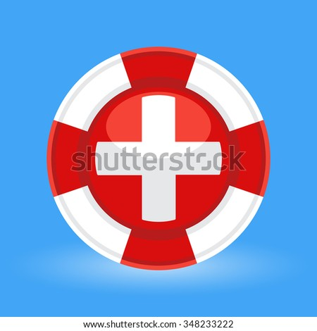 Lifebuoy / life preserver with medical cross icon concept on blue background. Vector illustration - stock vector