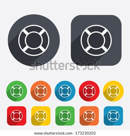 Lifebuoy sign icon. Life salvation symbol. Circles and rounded squares 12 buttons. Vector - stock vector