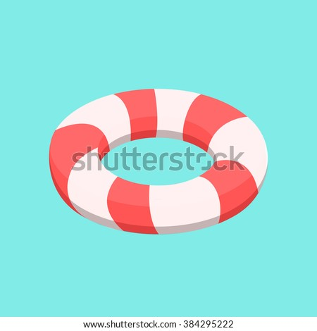 Lifebuoy vector. Isolated lifebuoy. Isometric lifebuoy. Stripped lifebuoy.  - stock vector