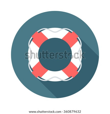 Lifebuoy web icon with long shadow. Flat design style. Round icon. Web and mobile design element. - stock vector