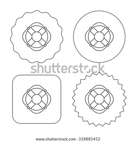 Lifebuoy with rope icon. Lifebelt sos sign. Lifesaver help equipment symbol. Flat circle, star and emblem buttons. Labels design. Vector - stock vector