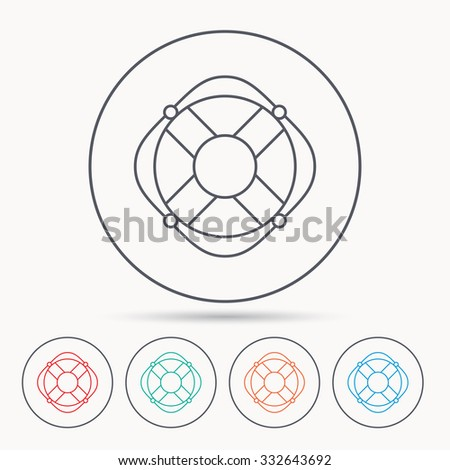 Lifebuoy with rope icon. Lifebelt sos sign. Lifesaver help equipment symbol. Linear circle icons. - stock vector