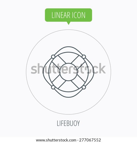 Lifebuoy with rope icon. Lifebelt sos sign. Lifesaver help equipment symbol. Linear outline circle button. Vector - stock vector