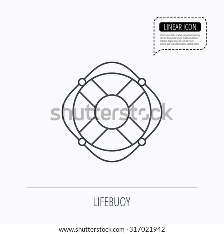 Lifebuoy with rope icon. Lifebelt sos sign. Lifesaver help equipment symbol. Linear outline icon. Speech bubble of dotted line. Vector - stock vector