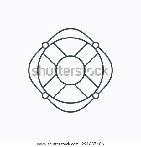Lifebuoy with rope icon. Lifebelt sos sign. Lifesaver help equipment symbol. Linear outline icon on white background. Vector - stock vector