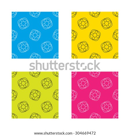 Lifebuoy with rope icon. Lifebelt sos sign. Lifesaver help equipment symbol. Textures with icon. Seamless patterns set. Vector - stock vector