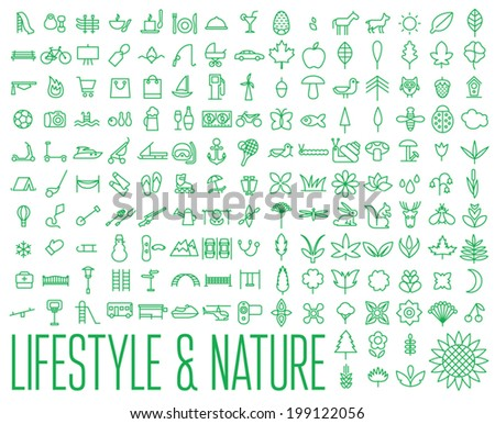 Lifestyle & Nature Icons - stock vector