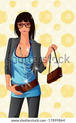 Lifestyle of Joyful People - relaxed standing pose for the camera with an attractive & chic young female isolated on a background of bright yellow wallpaper with circle patterns : vector illustration - stock vector