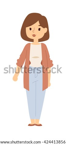Lifestyle portrait mom and mother portrait happiness meadow. Mother portrait vector illustration and cheerful mother portrait loving caring sweet woman. Motherhood baby mom parenting character. - stock vector