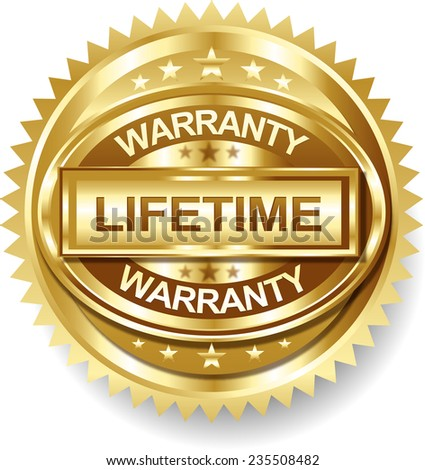 Lifetime Golden warranty label tag - stock vector