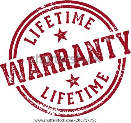Lifetime Warranty Rubber Stamp - stock vector