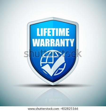 Lifetime Warranty Shield - stock vector