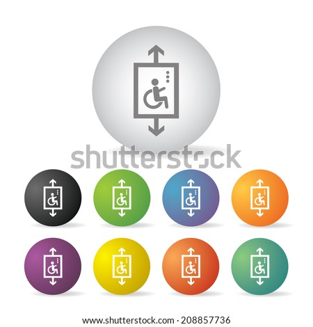 lift for disabled  button icon set   - stock vector