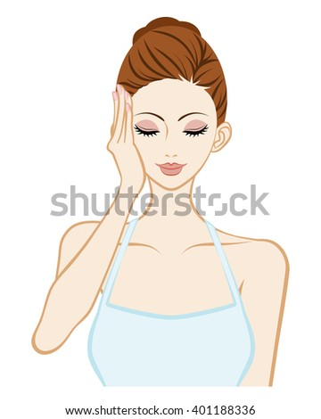 Lift up - Skin Care Woman - One hand and Closed eyes