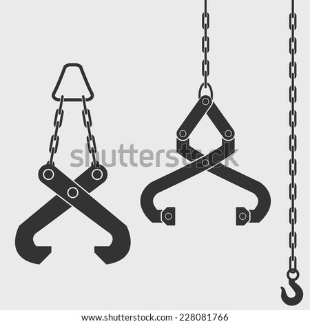 Lifting device - grapple. Crane hook on the chain. Isolated Black silhouette on white background. Vector illustration. - stock vector