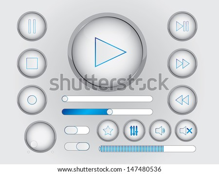 Light and blue multimedia buttons and switchers