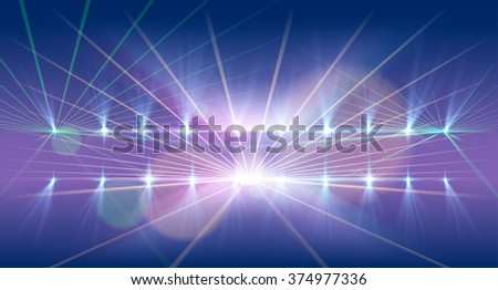 Light and laser show background - stock vector