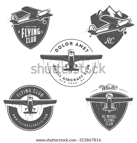 Light and RC airplane related emblems, labels and design elements - stock vector