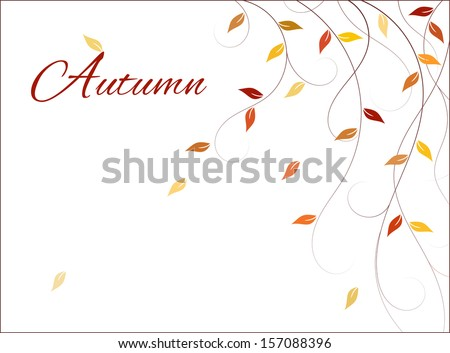 Light autumn background with branches and falling leaves (wind is blowing). Copy space on left side for your text. Can be used in web page, card, brochure, advertisement, greetings card, postcard etc - stock vector
