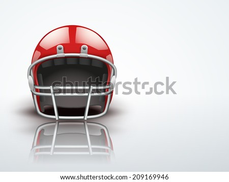 Light Background Realistic American football helmet. Equipment for protection of player. Editable Vector illustration.