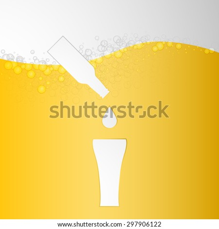 Light Beer background with icons bottle drops and glasses. Vector - stock vector