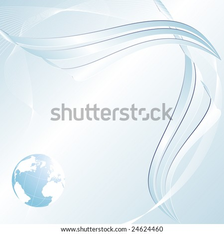 Light blue abstract background with a globe and copy space