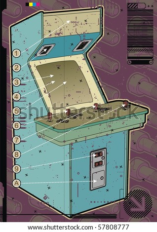 Light blue arcade machine on a mauve screw background. - stock vector