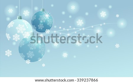 Light blue background for the Christmas and New Year greeting card with balls.