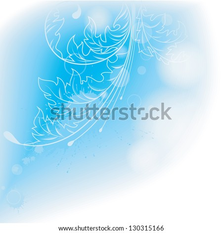 Light blue background with leaves . A vector. - stock vector
