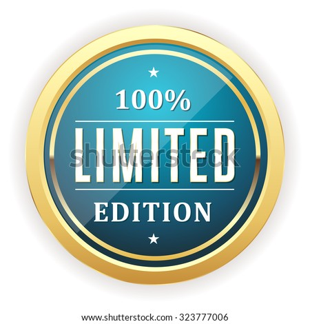 Light blue limited edition button with gold border on white background