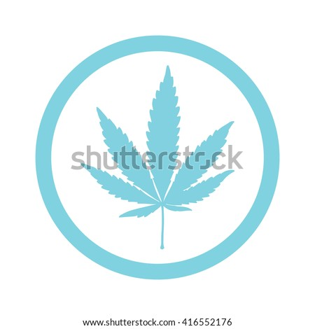 Light blue marijuana leaf in circle icon vector illustration - stock vector