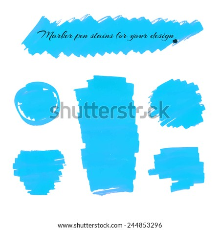 Light blue marker pen spots and lines isolated on a white background for your design. Vector illustration. - stock vector