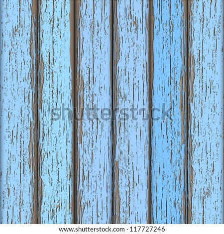 Light-blue old wooden fence. Vector background - stock vector