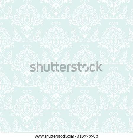 Light Blue Pattern Damask Wallpaper For Interior