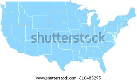 Light Blue United States Map Stock Photo Photo Vector