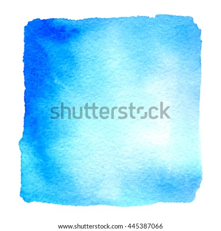 Light blue watercolor hand drawn banner. Vector watercolor paper grain textured background. Abstract hand paint square stain isolated on white background