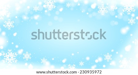 Light blue winter background with snow borders - stock vector