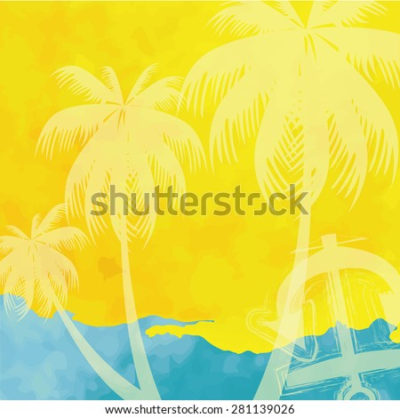 light blue yellow tone with retro vintage style and isolate ship anchor and coconut palm tree in summer card. - stock vector