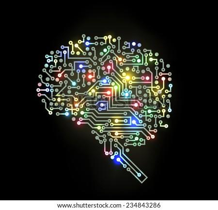 Light Brain - stock vector