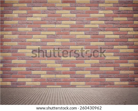 Light brown brick wall texture with sidewalk. - stock vector