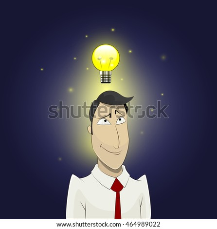 Light bulb above head of cartoon man. Insight, inspiration, creativity, making decision, thinking concept.